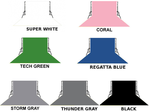 Tła zawieszone na tulejce - kolory